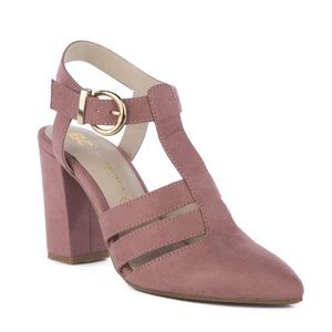 BC mauve strapping pointed toe heels NWOT